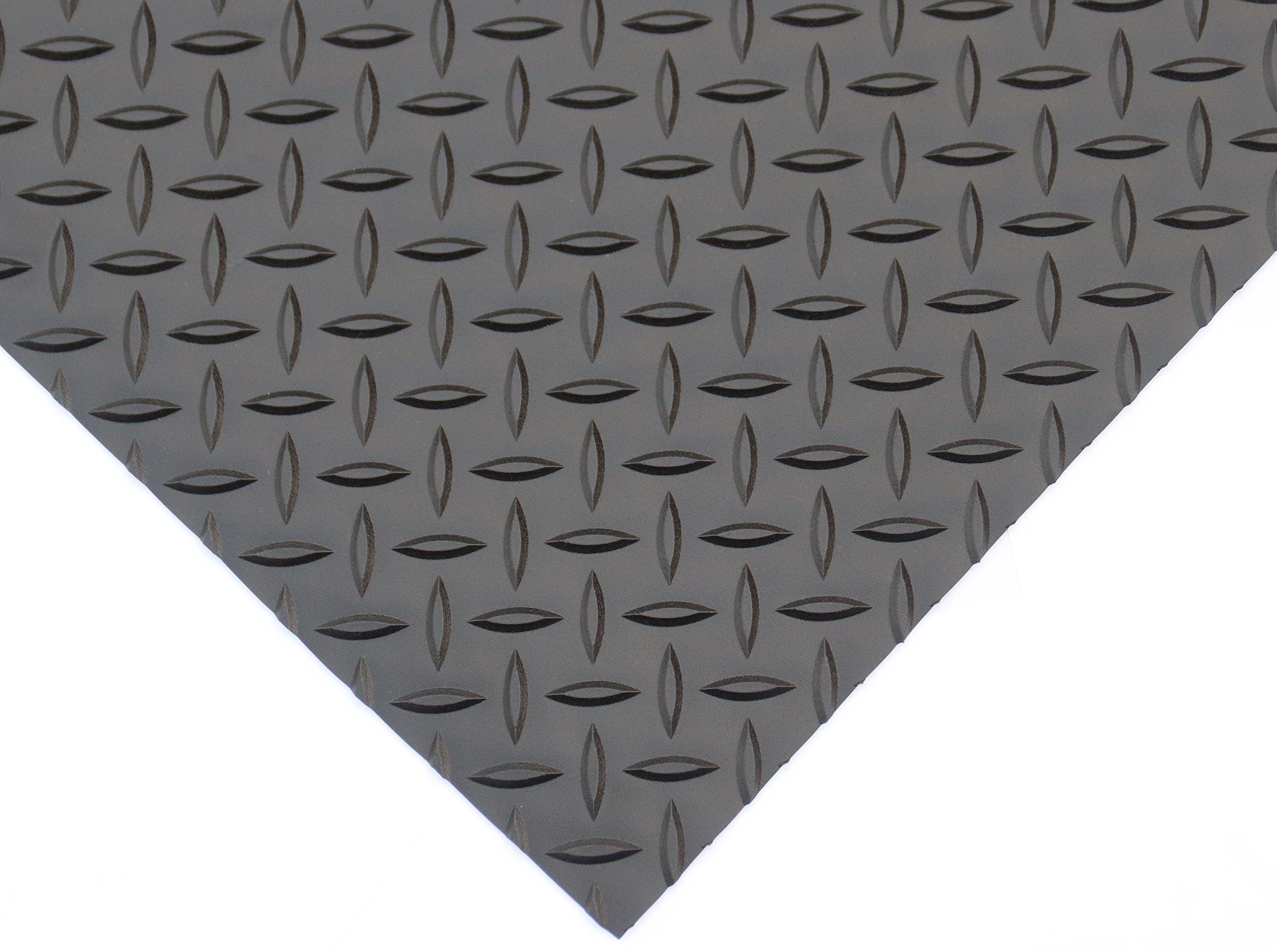 Rhino Mats DV48X2 Diamond Plate Rubber Flooring, Rubber, 1/8'' Thickness, Matt black