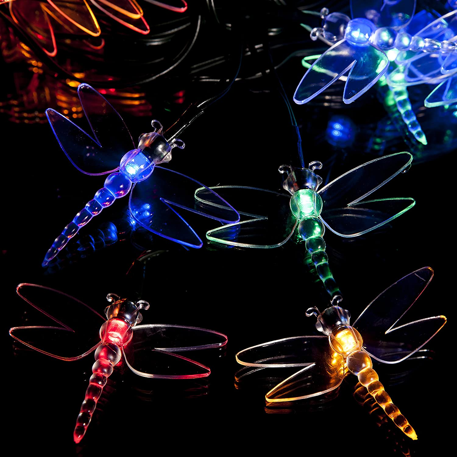 Shed Driveway Fence Outdoor for Christmas Patio 50 Multi-Colour LED Dragonfly Solar Powered Fairy Lights Ornament Waterproof Solar Decoration String Lights with Built-in Night Sensor Yard Stairs and Outside by SPV Path Garden Garage Walkway