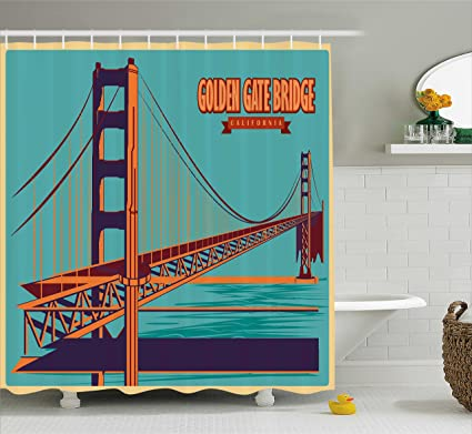 Amazon.com: Ambesonne Vintage Shower Curtain, Poster of Golden Gate ...