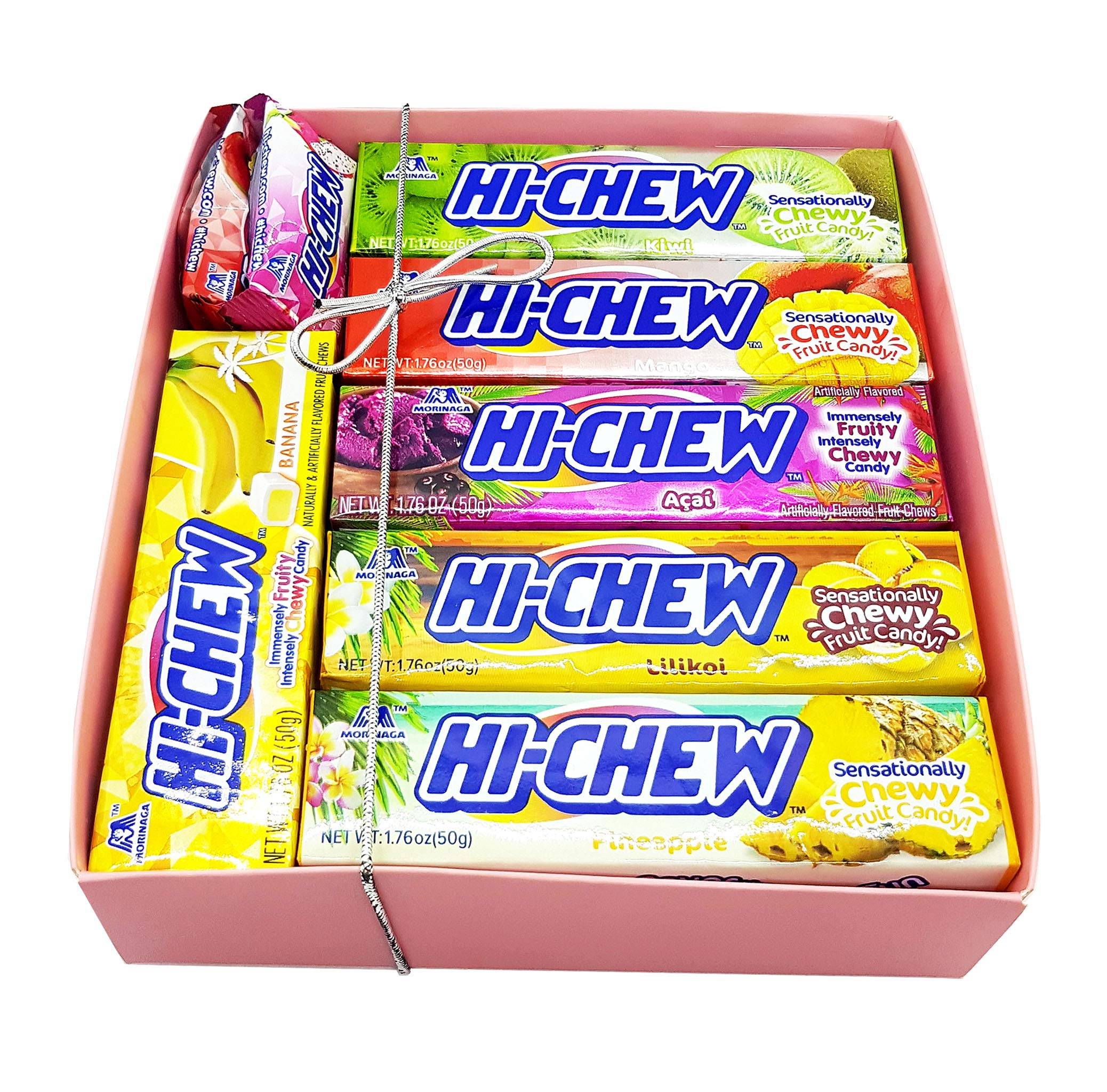 Hi-Chew Sticks Tropical Assorted 6 Flavors Plus 3 Individual Surprise Flavors Pak Gift Boxed: Mango, Banana, Kiwi, Acai, Pineapple, and Lilikoi (Passion Fruit) 15-Piece Set by Hi-Chew