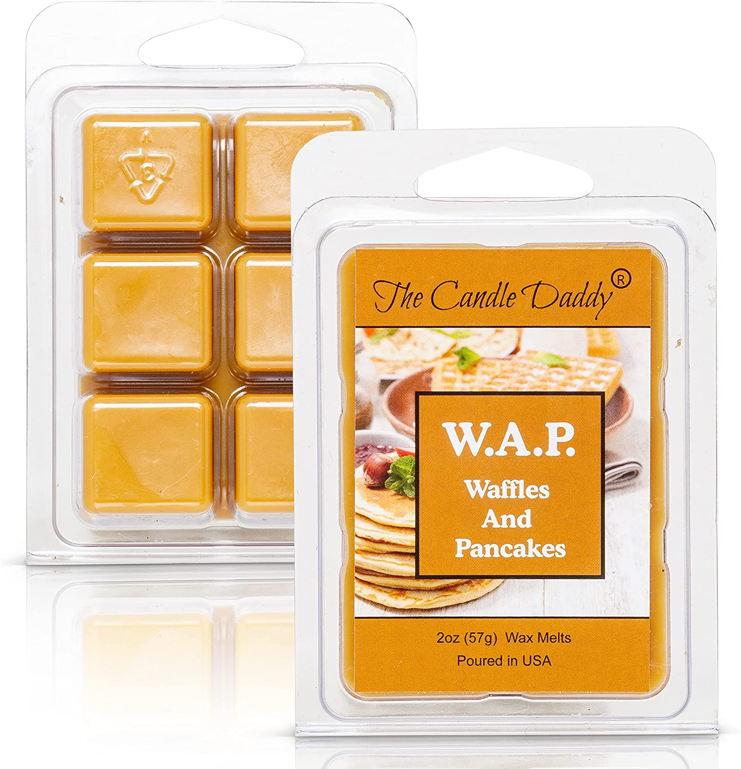 The Candle Daddy W.A.P. - Waffles and Pancakes - Waffles and Pancakes with Syrup and Butter Scented Melt - Maximum Scent Wax Cubes/Melts - 1 Pack - 2 Ounces - 6 Cubes WAP