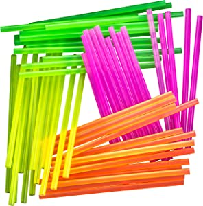 Blacklight Neon Drinking Straws 600 Pack in 4 Bright Colors for Retro Party Time or Kids Birthday. Individually Wrapped 7.75 Inch BPA-Free Straight Straw in a Paper Wrapper. Great for Craft Projects!