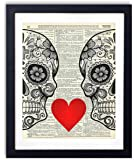 Sugar Skull Love With Flowers Upcycled Vintage Dictionary Art Print 8x10