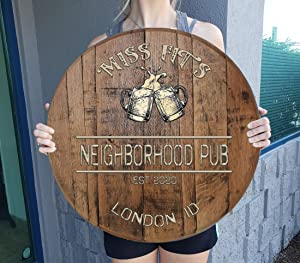 CBW Personalized Custom Beer Sign for Home Bar Tavern Pub Beer Mugs on Oak Barrel Lid Wall Art Whiskey Barrel Gift Man Cave Natural Wood Brown Large Wall Decor