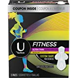 U by Kotex Fitness Ultra Thin Pads with Wings, Regular Absorbency, Unscented, 3 Count