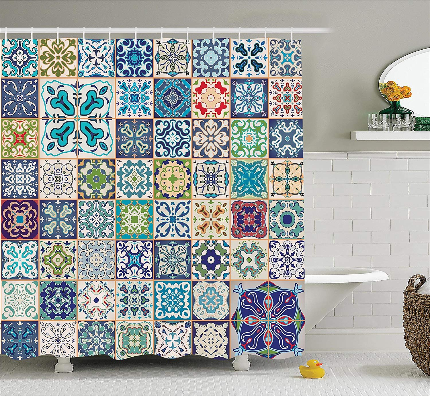 DIY Moroccan Decor Shower Curtain Set, Floral Patchwork Design with Arabesque Figure and Shapes Mediterranean Symbolic Artisan Work, Decorative Bathroom Curtain with Hooks, 72 x 84 Inches