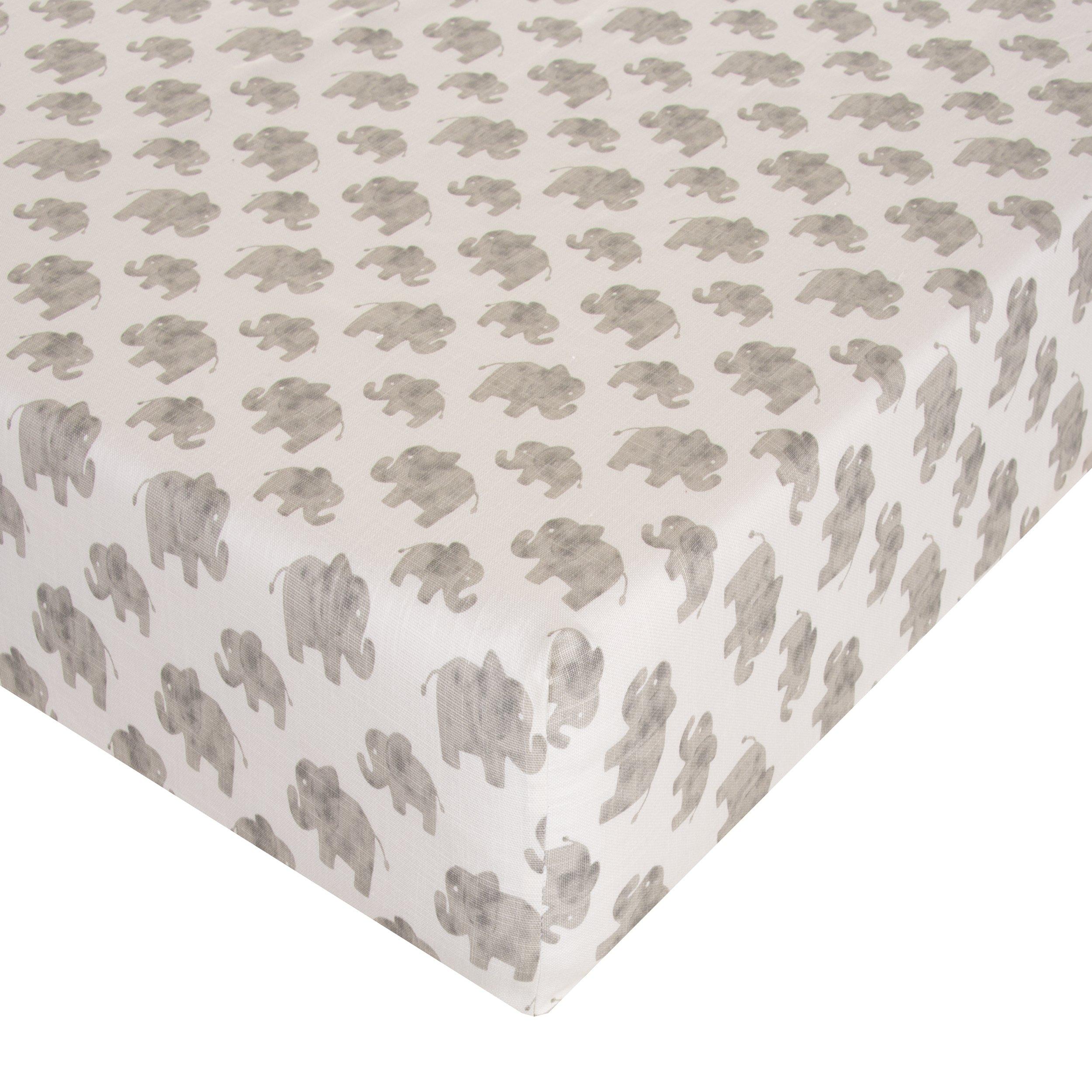 Glenna Jean Elephant Herd - Natural Crib Sheet Fitted 28''x52''x8'' Nursery Standard