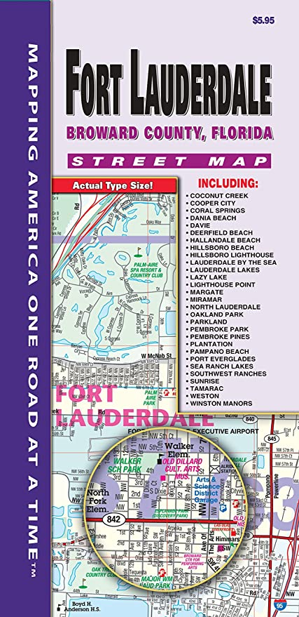 Map Of Broward County Florida.Amazon Com Ft Lauderdale Broward County Fl Fold Map Office Products