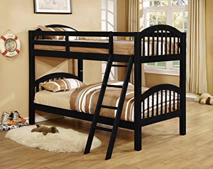 Amazon Com Kings Brand Furniture Twin Over Twin Wood Bunk Bed With