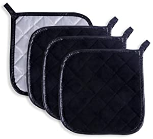 Pot Holders Cotton Made Machine Washable Heat Resistant Potholder, Pot Holder, Hot Pads, Trivet for Cooking and Baking (4, Black)