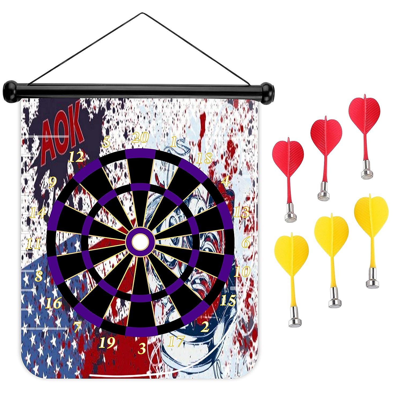15インチMagnetic Dart Board Double Sided Hanging Dart Board Set and Bullseyeゲーム。グラフィティフラグ B078YSMRBM