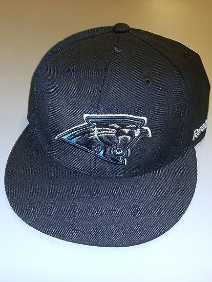 Amazon.com   Carolina Panthers Fitted Flat Bill Reebok Hat - Size 7 ... 71a6d3d10