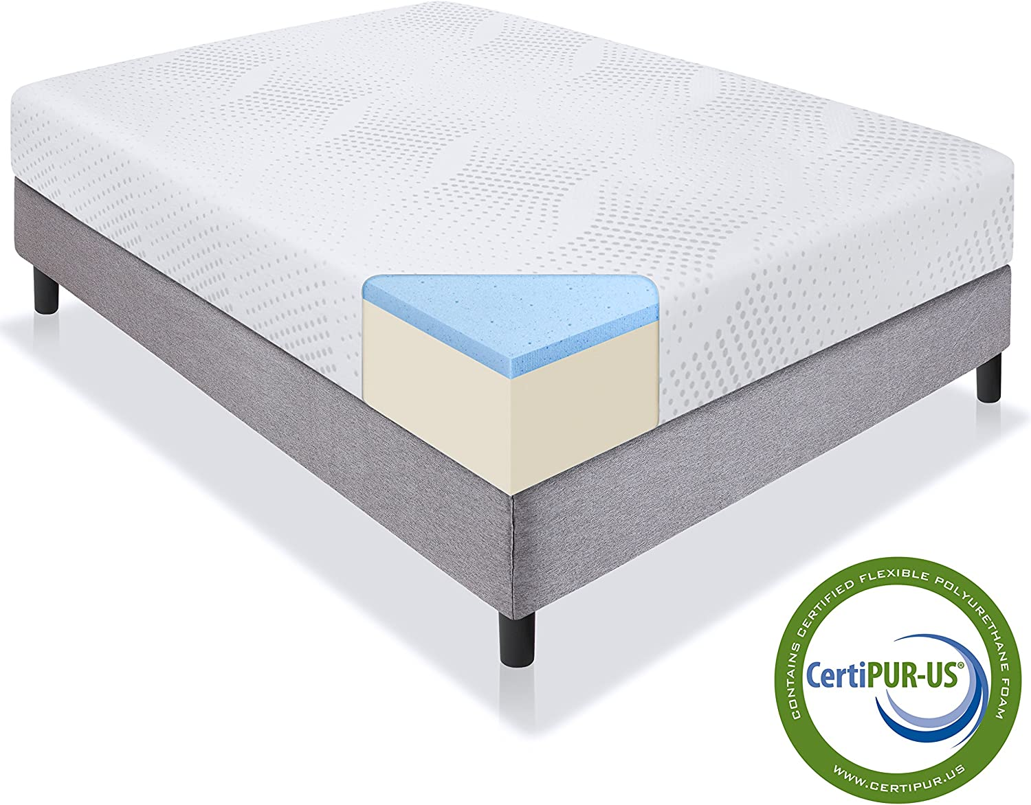 Best Choice Products 10 Dual Layered Gel Memory Foam Mattress Twin CertiPUR-US