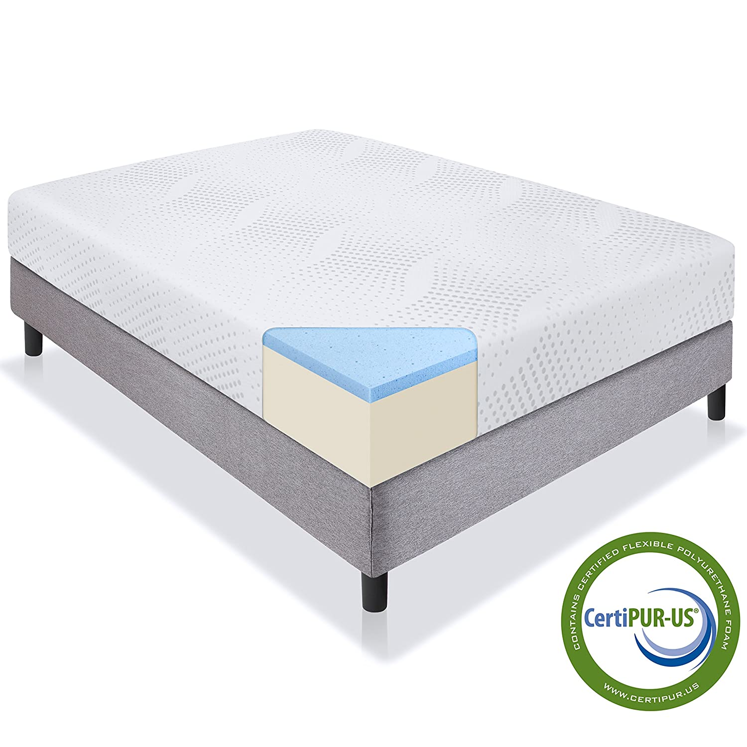 Best Choice Products 10in Queen Size Dual Layered Gel Memory Foam Mattress with CertiPUR-US Certified Foam