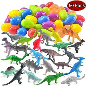 JOYIN 60 Pack Easter Eggs with Prefilled Dinosaur Toys Easter Basket Stuffers Easter Party Favors for Kids