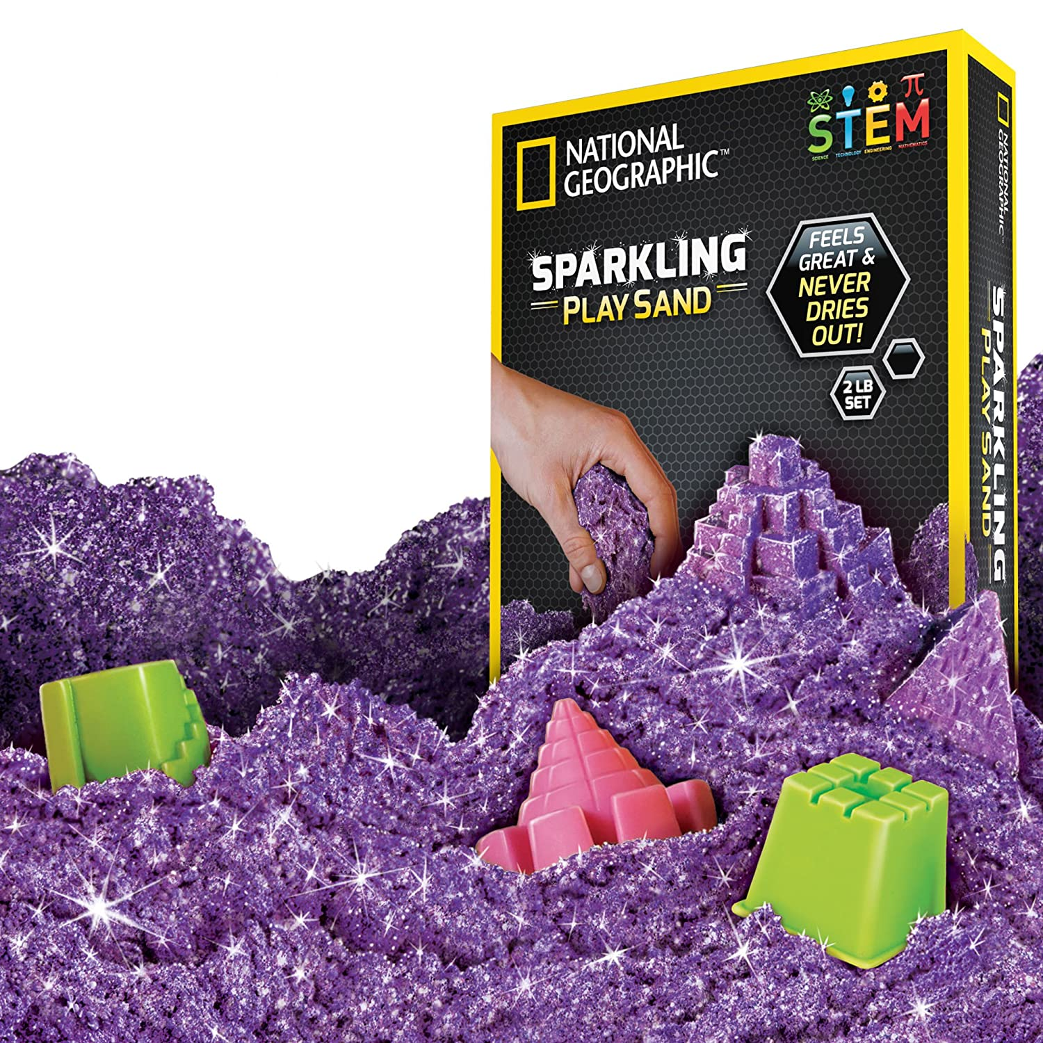 NATIONAL GEOGRAPHIC Sparkling Play Sand - 2 LBS of Shimmering Sand with Castle Molds and Tray (Pink) - A Kinetic Sensory Activity NGSANDSPK2