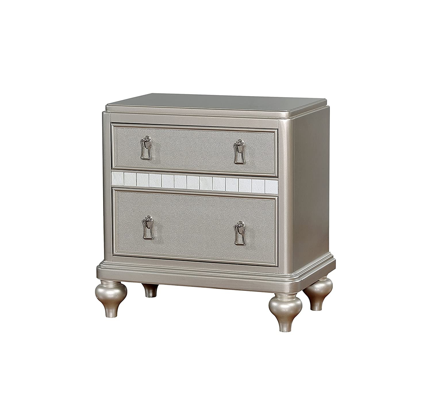 Amazon com homes inside out idf 7170sv n furniture of america cordova transitional nightstand silver kitchen dining