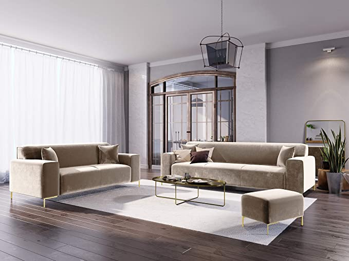Cosmopolitan Design - Sofá de Terciopelo de 3 plazas, Color ...