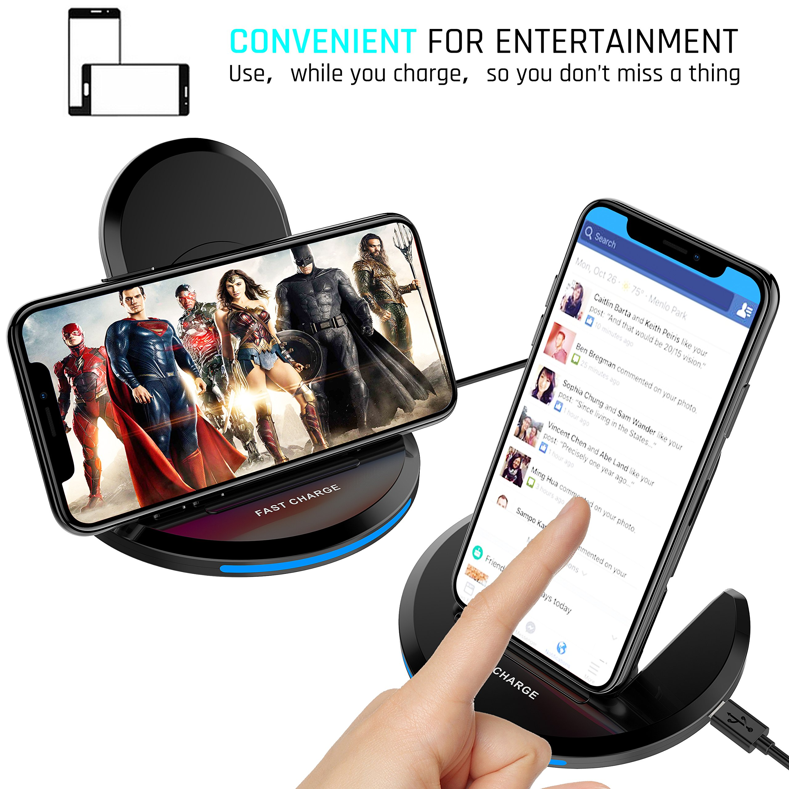 Fast Wireless Charger, QI Wireless Charging Pad Stand with LED Light, Overheat Protection