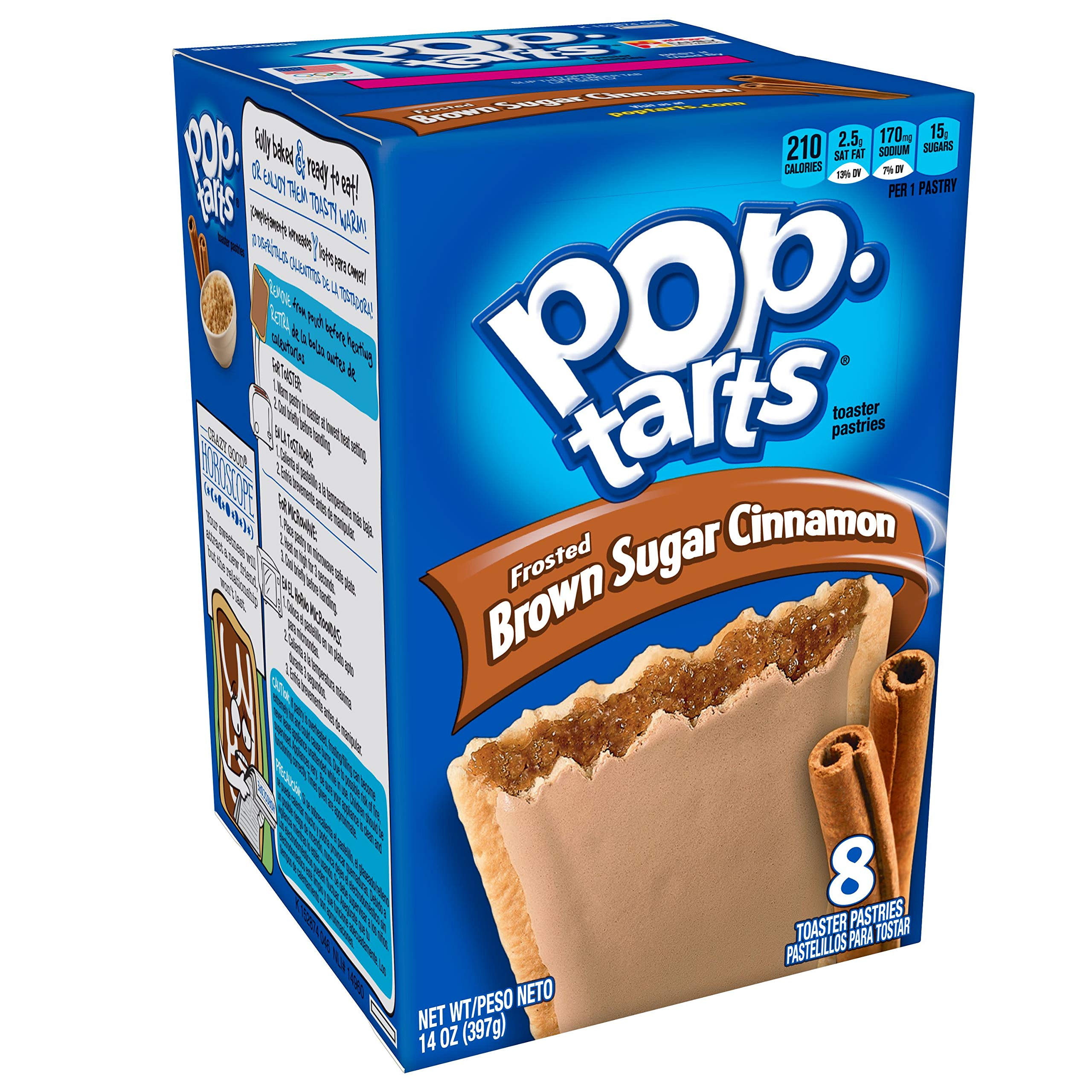 Pop-Tarts Breakfast Toaster Pastries, Frosted Brown Sugar Cinnamon Flavored, 14 oz (8 Count)