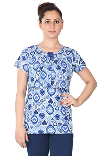 b1714d48e3b Demoda Women's Allover Printed Nursing Top with Front Zip: Amazon.in:  Clothing & Accessories