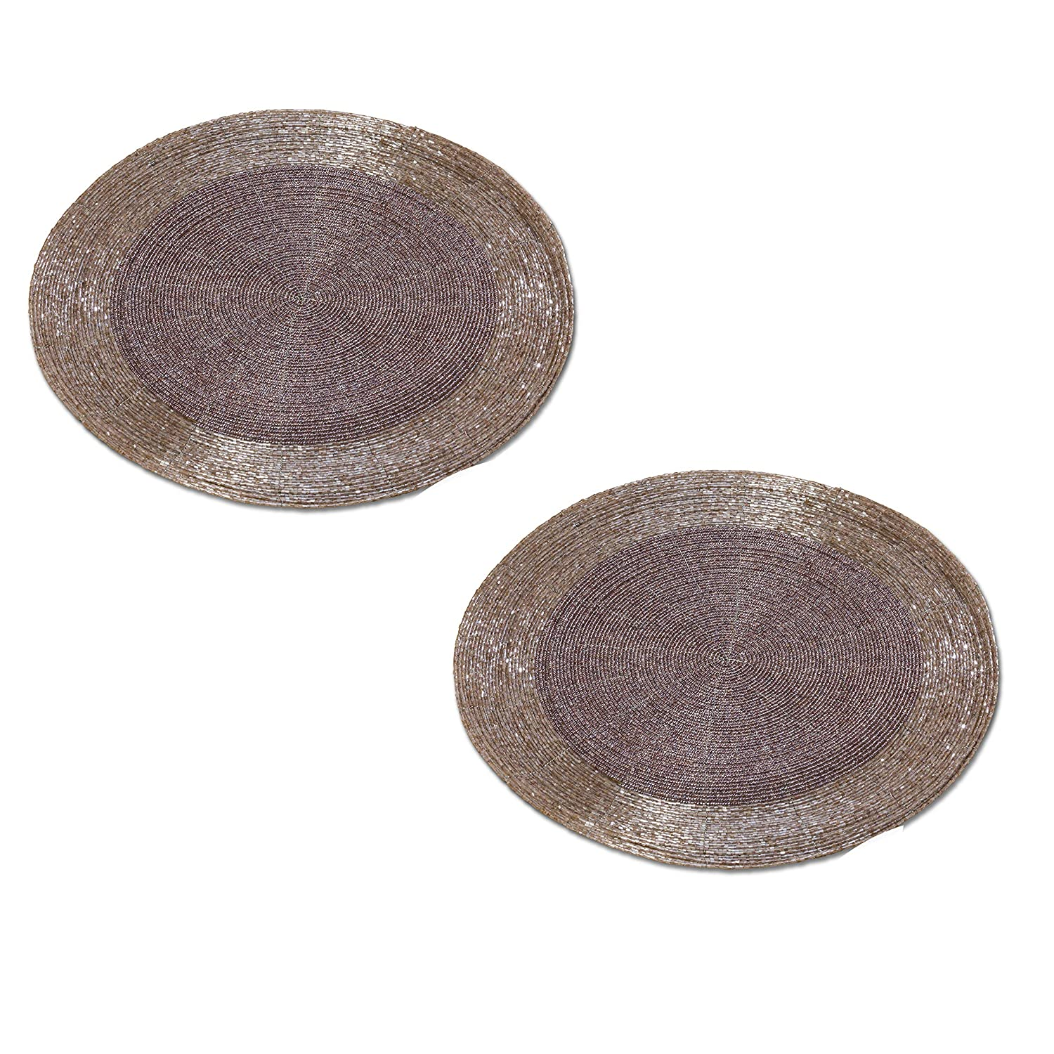 Whole House Worlds Crosby Street Shimmer and Chic Round Silver and Pale Purple Lavender Filigree Beaded Placemats, Set of 2, Wire, Glass, 13 3/4 Inches Diameter