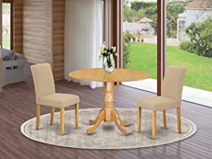 """DLAB3-OAK-04 3Pc Round 42"""" Dining Room Table With Two 9-Inch Drop Leaves And 2 Parson Chair With Oak Leg And Linen Fabric Light Fawn"""