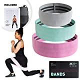 Resistance Bands Set of 3 for Women and Men, High End Fabric Booty Bands, Non Slip, Workout Bands, Exercise Bands, Hip Circle Bands, Perfect for Home and Travel. Workout for Legs, Glutes, Abs and Core. Free Exercise Program & Mesh Carry Bag included.