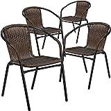 Flash Furniture Rattan Indoor-Outdoor Restaurant Stack Chair (4 Pack), Dark Brown
