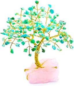GET CHAKRAED Chakra Natural Healing Bonsai Style Crystal Money Tree for Wealth Luck Love Inner Healing and Peace|Home and Office Decor|Rose Quartz Base Amazonite GEMS | Large,Robust,