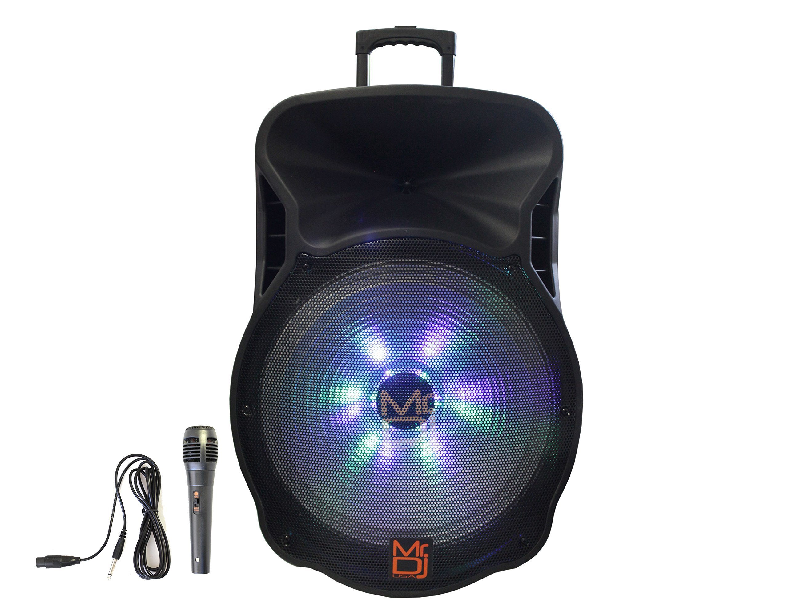 Mr. Dj DJ18BTA 18'' 5000W Max Power Speaker with Built-In Bluetooth & Battery, 1'' LCD/MP3/USB/SD