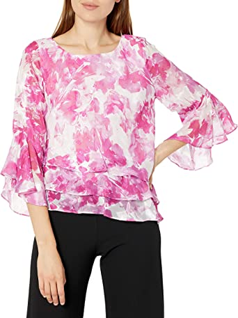 Alex Evenings Women's Asymmetric Chiffon Blouse