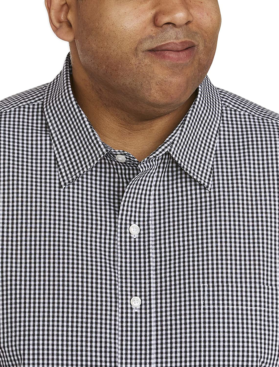 Essentials Mens Big /& Tall Short-Sleeve Gingham Shirt fit by DXL