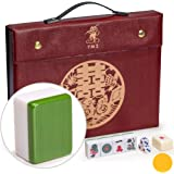 Yellow Mountain Imports Professional Chinese Mahjong Game Set - Double Happiness (Green) - with 146 Medium Size Tiles, 3 Dice