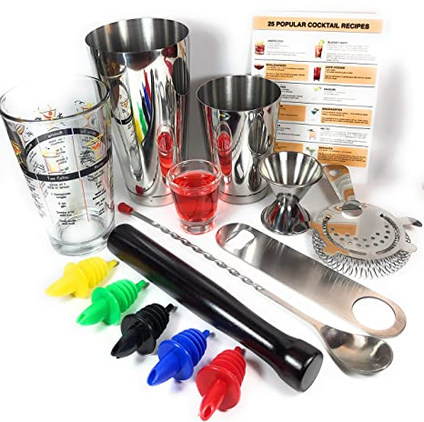 Drink Muddler Boston Shaker Set: Professional Two-Piece Cocktail Shaker Set with Hawthorne Strainer Bar Spoon and 2 Liquor Pourers Double Jigger
