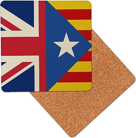 España Bandera Mix catalán Reino Unido Posavasos de madera de primera calidad - base de corcho - posavasos para bebidas - mesa de tapete - 95 x 95 mm (Pack of 8): Amazon.es: Hogar