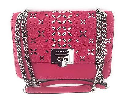 16639acce6bd MICHAEL Michael Kors Women's TINA Medium Shoulder Flap Leather Evening  Studded Handbag (Ultra pink): Handbags: Amazon.com