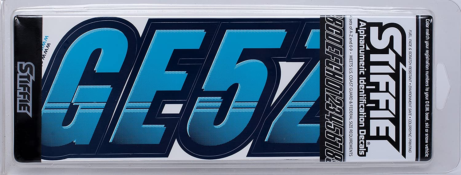Techtron Sky Blue//Navy 3 Alpha-Numeric Registration Identification Numbers Stickers Decals for Boats /& Personal Watercraft Stiffie