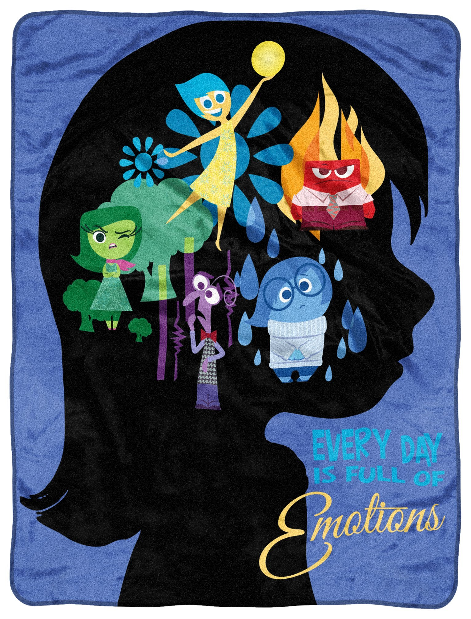 Disney-Pixar's Inside Out, ''Everyday Poster'' Micro Raschel Throw Blanket, 46'' x 60'', Multi Color by Disney