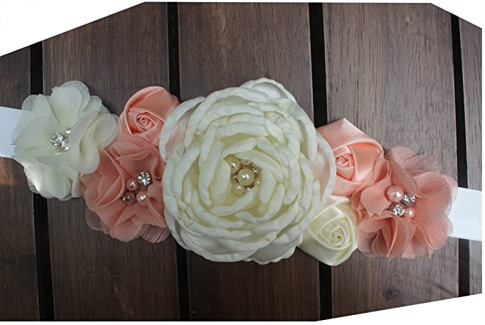 Amazon Com Flowers Materniry Sash Baby Shower Pregnancy Belts For