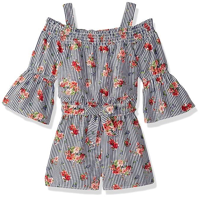 2bf7bb74885 My Michelle Girls  Cold Shoulder Romper with Tie Waist Jumpsuit