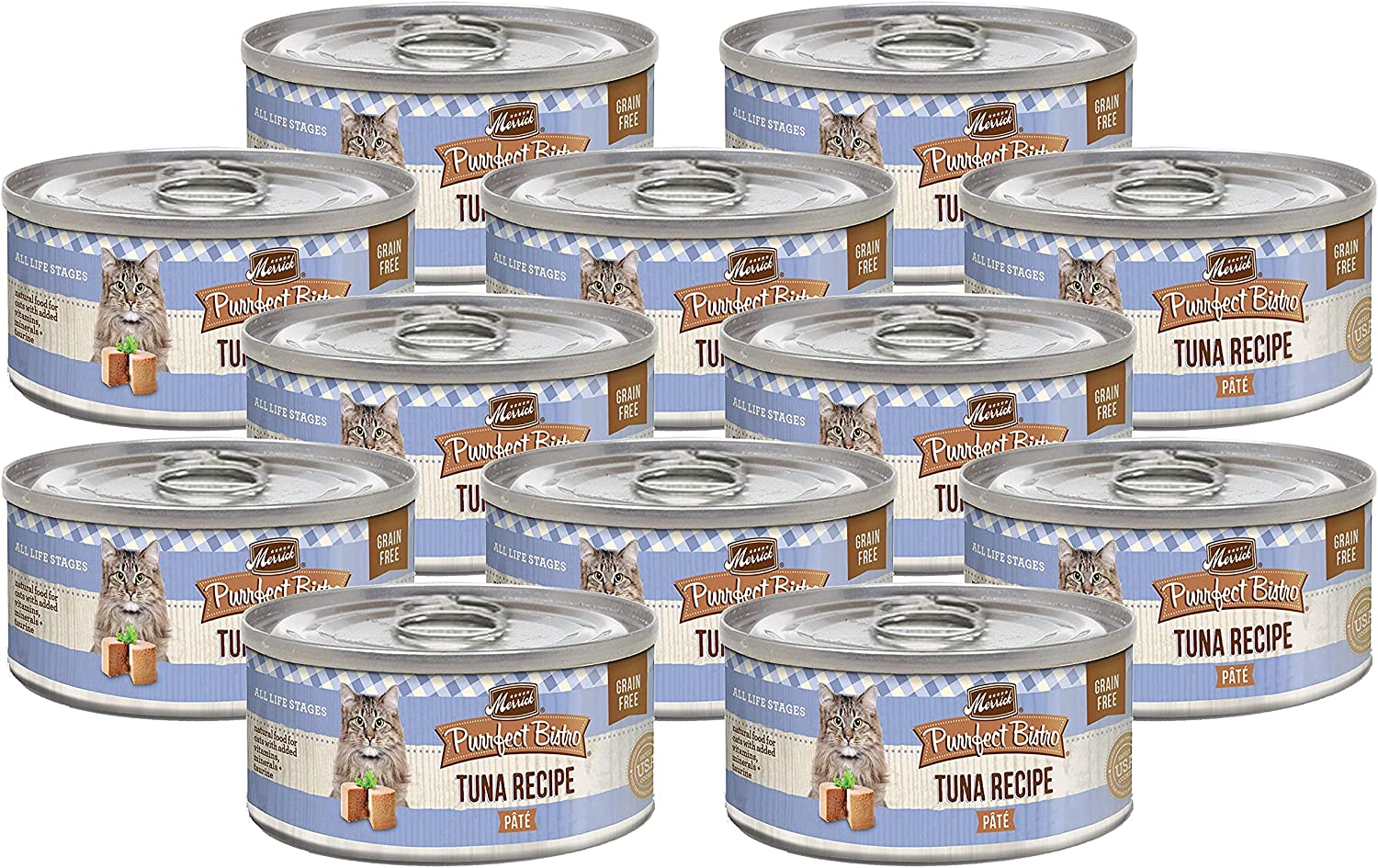 Merrick Purrfect Bistro Canned Wet Cat Food, Tuna Recipe Pâté, Grain Free Natural Food with Added Vitamins & Minerals, Cat Food for All Life Stages, 3 OZ Can (Pack of 12)