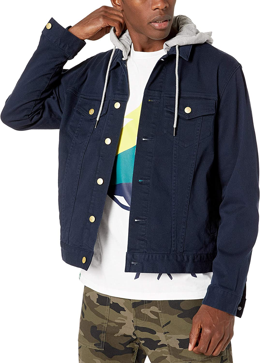 LRG Mens Lifted Research Collection Hooded Denim Jacket