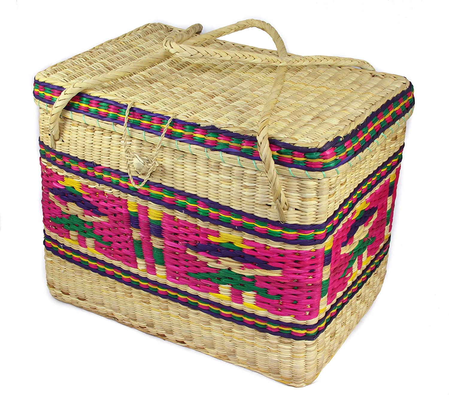 woven basket with lid. Colourful Soft Woven Wicker Basket With Lid, Pink Small 20H X 16W 25L (cm) - Fair Trade And Handmade In Ecuador Perfect For Laundry, Picnics Storage. Lid