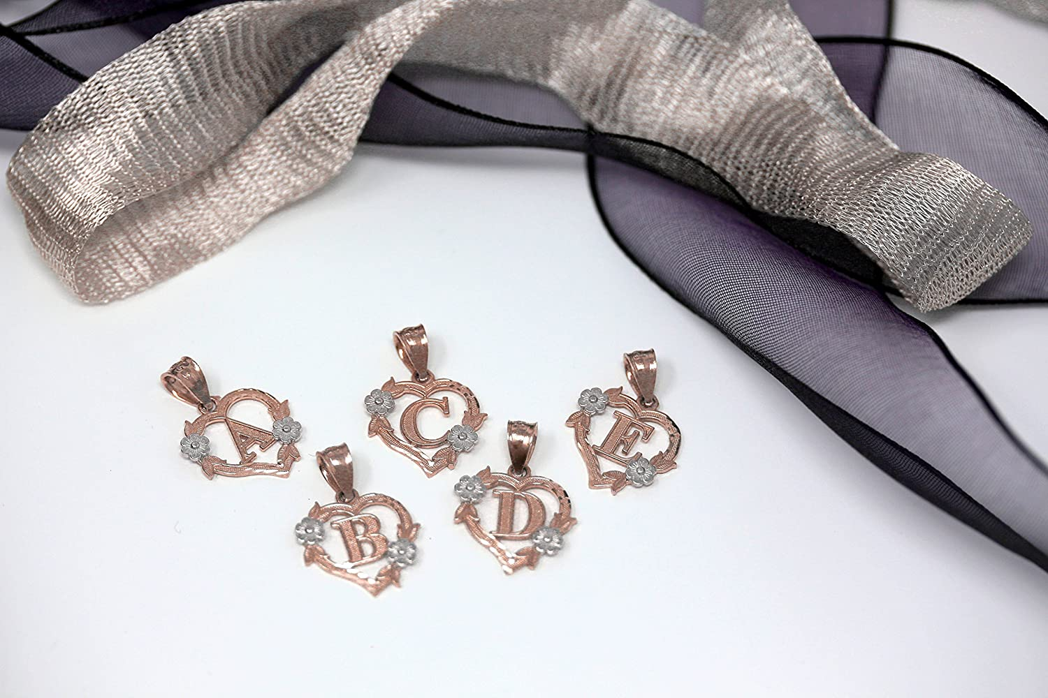 CaliRoseJewelry 14k Gold Initial Heart Pendant and Ring Set Letter R