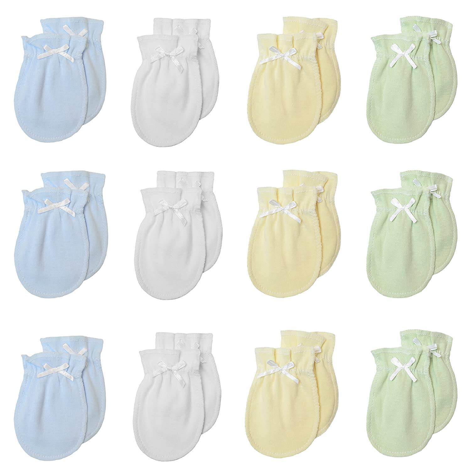 TL Care Newborn Baby 100% Cotton Scratch FreeMittens, for Boys