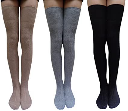 1473c7a563a AM Landen®Ladies Cotton Knit Boot Socks(Light Gray Khaki Black) at ...