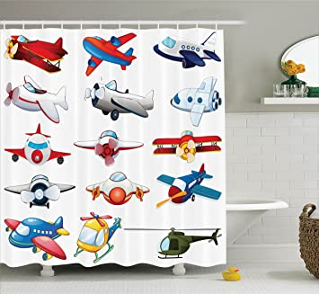 Amazon.com: Ambesonne Airplane Decor Collection, Different Kind of ...