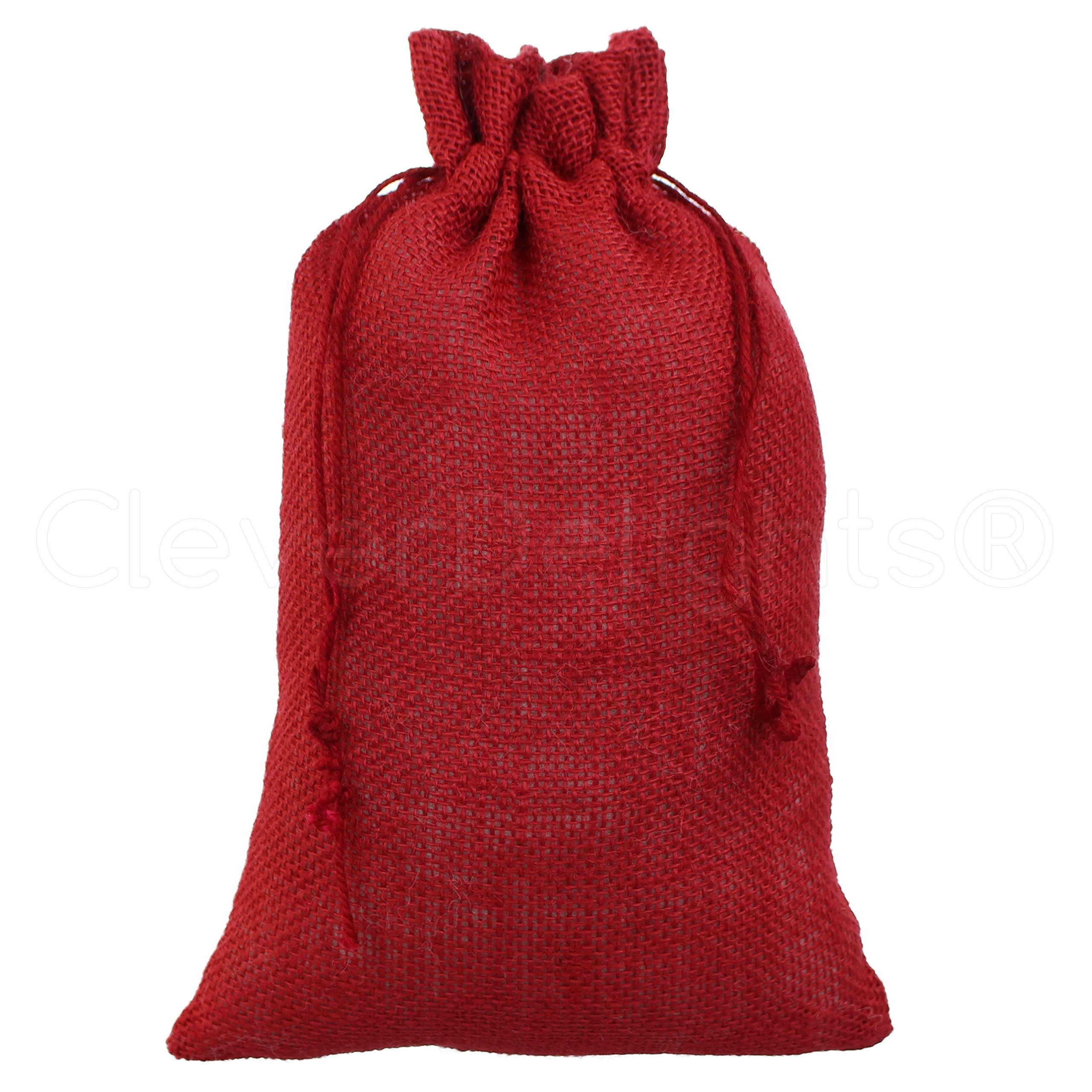 25 Pack - CleverDelights 8'' x 12'' Red Burlap Bags with Natural Jute Drawstring - Christmas Present Holiday Décor Rustic Party Favor Pouch Bags by CleverDelights (Image #2)