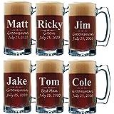 Set of 3, Set of 5 Set of 7 and more Personalized Groomsmen Beer Glasses - Custom Engraved Groom, Best Man Gift Mugs - 3…